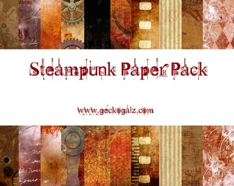Steampunk Digital Paper Pack