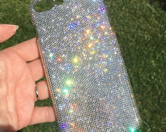 For iPhone 8 Plus Exquisite Teenie Tiny 5ss Clear Crystal Diamond Rhinestone BLING Back Case handmade using 100% Swarovski Crystals