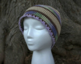 SALE! 10% off! Purple, green and brown beanie