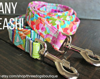 Dog Leash- ALL standard fabrics available- FREE SHIPPING