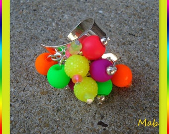 Ring charm in neon pink, green, yellow, purple, orange, multicolor, adjustable