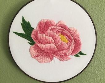 "Peony Needlepainted 8"" Embroidery Hoop Art"