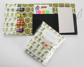Crayon Wallets coloring wallets  set 2 styles, drawing sets art kits