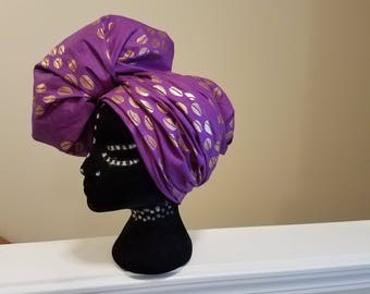 African Cowrie Shells Head Wrap, Purple/Gold, Ankara Head Wrap, African Print Head Wrap, African Scarf, African Turban, Dashiki Head Wrap