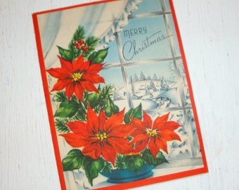 Vintage Merry Christmas Greeting Card, Mid Century Paper Ephemera, Flowers, Red Poinsettia, Retro  (192-11)