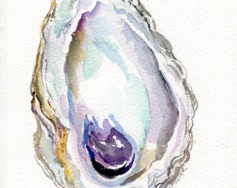 Original Oyster Shell Watercolor Painting  5 x 7 oyster watercolor, oyster art, oyster painting, watercolor oysters wabi-sabi, nt a print