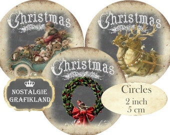 Christmas Circles 2 inch Vintage Christmas Instant Download digital collage sheet C245