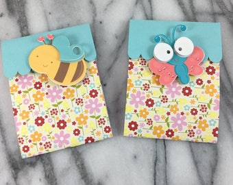 Gift Card Holder, Butterfly and Bees, card, wrapping, Holiday gift card, Easter gift card, Handmade Gift Card Holder,