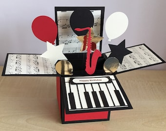 Handmade Card in a box, special/best teacher/happy birthday music themed piano pop up greeting card.