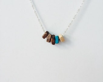 Walnut and beech wood bead necklace on a sterling silver chain, trending items turquoise.