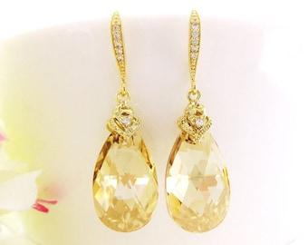 Swarovski Golden Shadow Teardrop Earrings Champagne Crystal Earrings Bridal Crystal Earrings Wedding Jewelry Bridesmaids Gift (E027)