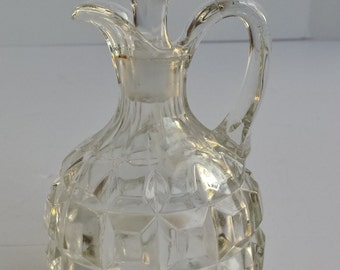 Vintage Cut Glass Cruet with Solid Cut Glass Stopper