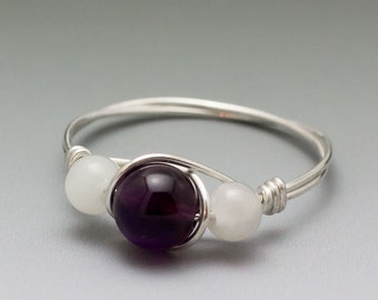 Amethyst & Moonstone Sterling Silver Wire Wrapped Bead Ring - Made to Order, Ships Fast!