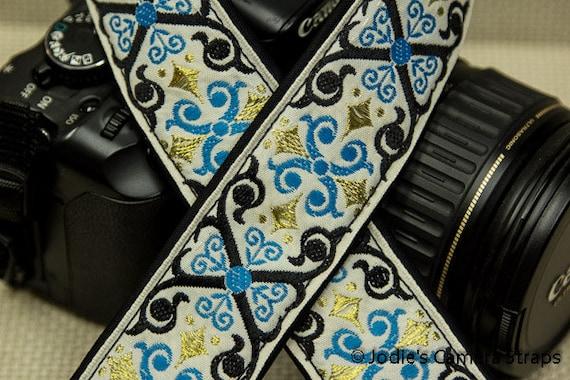 "Camera Strap Scrolls Blue Black on Cream 1.5"" Wide Custom Padded Fits DSLR SLR 4296"