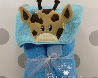 Baby or Toddler Hooded Towel - Giraffe Hooded Towel - Cute Giraffe Hooded Towel - Giraffe Towel for Bath, Beach, or Swimming Pool
