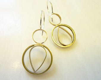 Up Down Teardrop Circle Earrings, Soldered Brass, Sterling Silver Ear Wires, Geometric, Everyday Gold, Mid-Century Modern, Asymmetrical
