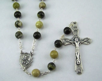 Yellow Turquoise Sacred Heart Rosary (57)