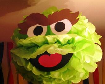 """Green Monster tissue paper pompom kit, inspired by """"Oscar the Grouch"""" from Sesame Street"""