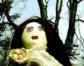 Art Cloth Doll- Urbangipsy  Rosalia The Listener - One Of A Kind