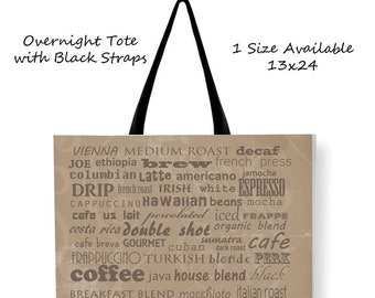 Coffee Tote Bag-List of Coffees-Cross Body Tote-Weekend Bag-Large Tote Bag-Large Tote-Coffee Canvas Tote-Shoulder Tote Bag-Carry All Bag