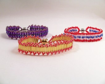 Ladder Stitch Bracelet Patterns, Beading Tutorial in PDF