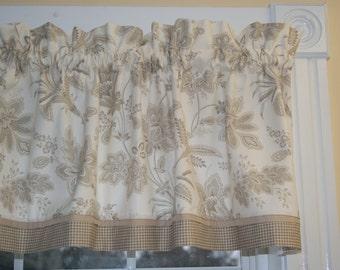 Baretta Linen Richloom Tan Cream Floral Toile Valance 17 x 45 Drap Wt.  Curtain Window Treatment