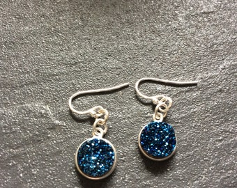 Druzy Quartz Sterling Silver Earrings.