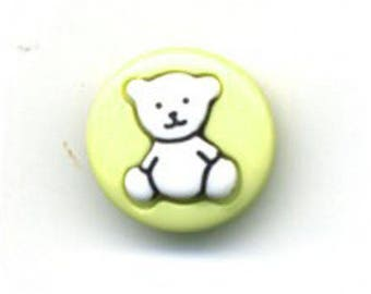 Button round pistachio green Teddy bear