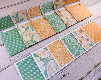 Mini Note Cards, Mini Note Card Set, 3x3 Note Cards, Mini Envelopes, Set of 6 Mini Note Cards with Envelopes, Mini Cards, Aqua Creamsicle