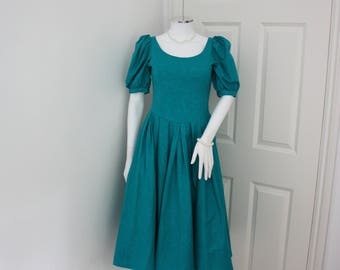 Laura Ashley dress - teal blue midi dress - 1980's prom gown - evening dress - petite size - vintage wedding - extra small