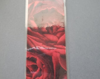 red roses front and back book mark with pocket