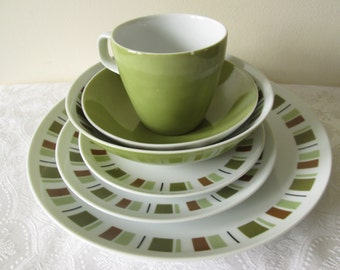 Mikasa Dinnerware in South Pacific Pattern very Mid Century Modern with Retro Blocks of Olive Greens Rust and Black : olive pattern dinnerware - pezcame.com