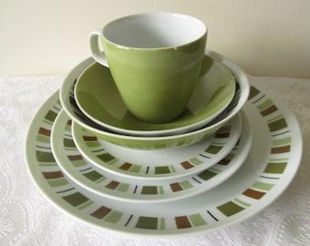Mikasa Dinnerware in South Pacific Pattern very Mid Century Modern with Retro Blocks of Olive Greens Rust and Black & Mikasa dinnerware | Etsy