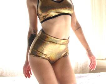 Sparkly Panties - gold hot pants - sparkly lingerie - gold panties - hot pants gold - high waisted bikini bottom - gold swimsuit - Recherche