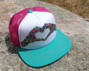 Heart in Hands- Kids Trucker Hat. Inspired by Youth and Designed in Colorado!
