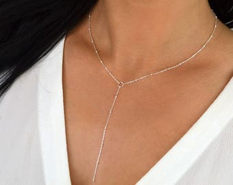 KYLIE Silver Plate / Sterling Silver / 14k Gold Filled - Delicate Silver Lariat Satellite Drop Chain Necklace Y Choker