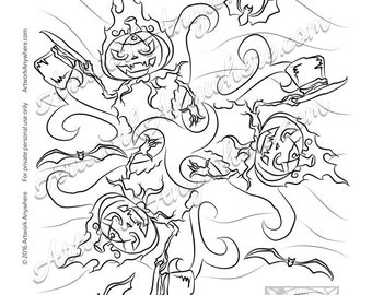 Halloween Jack o Lantern Pumpkin Mandala -Adult coloring page printable digital download ~hand drawn spooky digi stamp~ by Artwork Anywhere