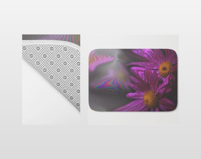 Bath Mat - Abstract Purple Flowers - Shower Mat - Bathroom Mat -  Made to Order