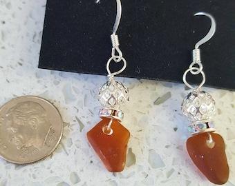 Amber sea glass earrings