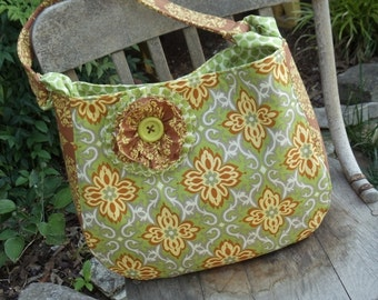"""The """"MADISON""""   Shoulder Bag / Purse  in Amy Butler fabrics   green, yellow, rust brown with shabby flower accent"""