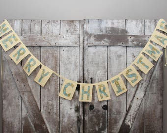 Merry Christmas Banner in Yellows and Blues