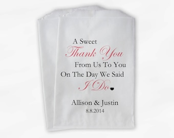 Sweet Thank You Wedding Candy Buffet Treat Bags - Dusty Rose Pink Personalized Favor Bags with Couple's Names and Wedding Date (0054-4)
