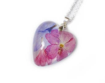 Pink & Purple - Cornflower Verbena  Heart Necklace- Resin Necklace - Real Flowers - Nature - Valenwood Vixen - Ready to Ship