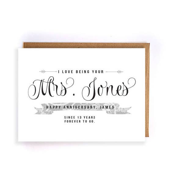 13th Wedding Anniversary Gift Ideas For Him: Items Similar To Custom Name 13th Anniversary Cards For
