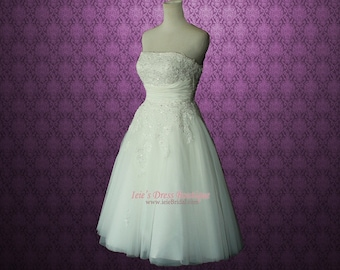 Retro Vintage 50s Short Tea Length Wedding Dress with Floral Sash BH130803 Serena