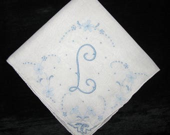 Blue Monogrammed handkerchief wedding embroidered, monogram initialed L M N A H or B Vintage