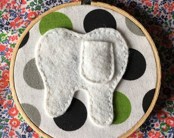 tooth fairy pocket hoop, green polka dot