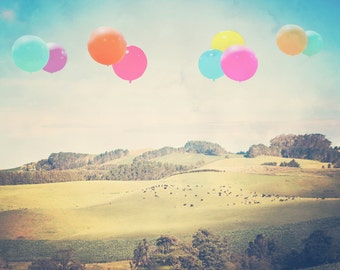 "Texas Photography - 8x10 photograph - ""Balloons over the Country"" - fine art print - vintage photography - Texas art"