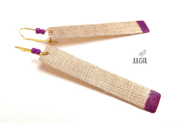 Long sleepers gold linen INNOLIN ©, lacquer and pearls ultra violet
