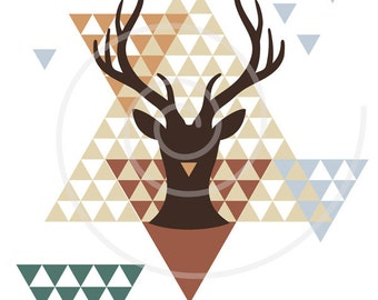 Unique modern Christmas card, deer with geometric triangle pattern, printable card, digital clip art, clipart,  print, reindeer, download